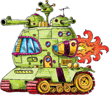 tough: A groovy, cartoon rocket tank, ready for battle.