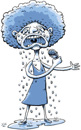 cries: A cartoon woman cries and drips tears while singing a sad song.