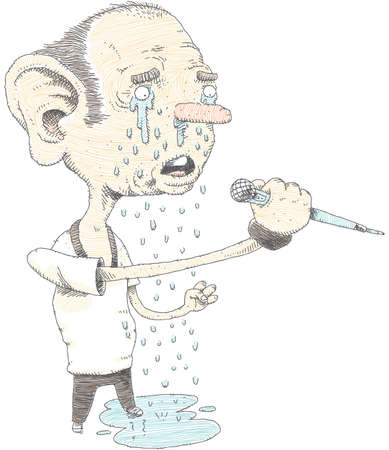Cartoon tears drop from a singer's eyes as he performs a sad song.