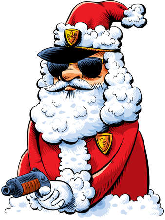 Cool cartoon cop working undercover as a Santa Claus. Vector