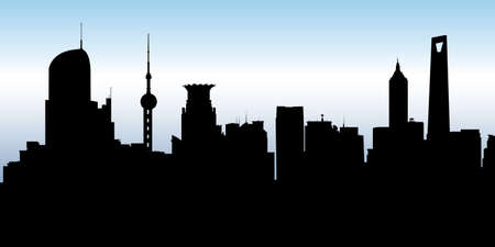 business district: Skyline silhouette of the city of Shanghai, China.