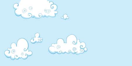 부드럽고 친절한 구름 만화 하늘.
