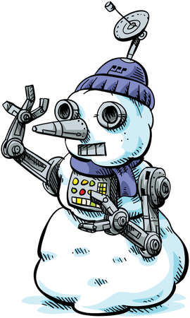 A cartoon character who is part snowman, part robot. Vector