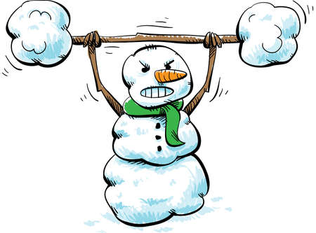 A strong, cartoon snowman working out with snow weights. Vector