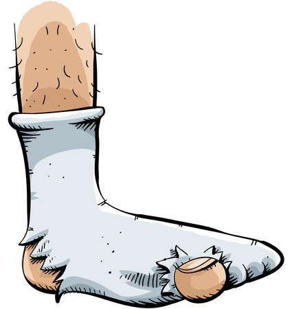 holes: A cartoon sock with a couple of holes in it.