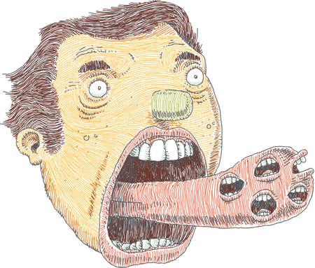 A cartoon man sticks out a tongue that talks with multiple mouths.