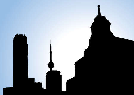 financial district: Old and new buildings on the Toronto Skyline in silhouette.