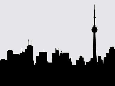 financial district: Skyline silhouette of the city of Toronto, Ontario, Canada.