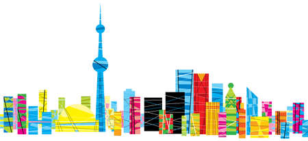 toronto: A bright, patterned skyline of the city of Toronto, Ontario, Canada.