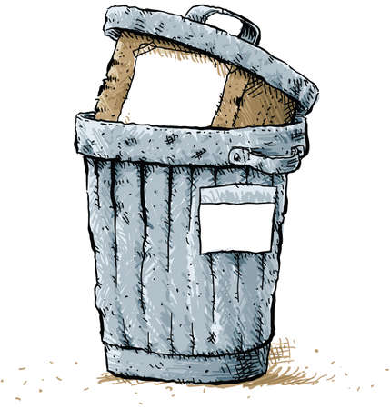 A cartoon box in a battered trash can with blank labels.  Illustration