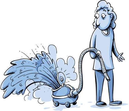 accident woman: Una mujer observa como su aspiradora se abre y arroja polvo.