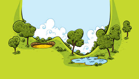 sand trap: A lush, green valley on a golf course with a sand trap and water hazard.