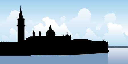 Skyline silhouette of the city of Venice, Italy.