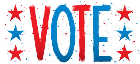 vote: Text of the word VOTE with stars. Illustration