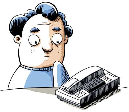 A cartoon man waits for his telephone to ring. Illusztráció