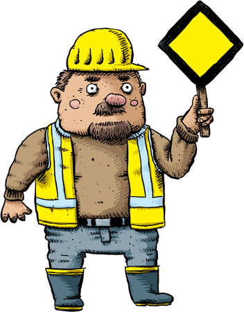A cartoon construction worker in safety gear holding a yield sign.