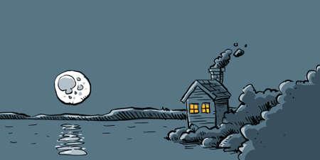 quaint: A cartoon full moon rises above a lake by a cabin. Stock Photo