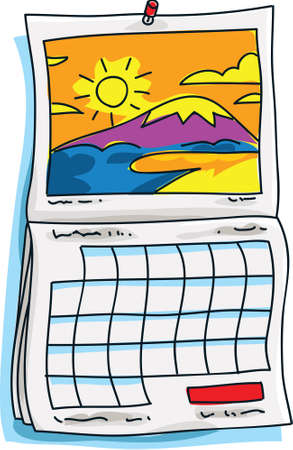 A cartoon calendar with a sunny scene on it. photo