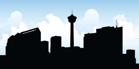 Skyline silhouette of the city of Calgary, Alberta, Canada. Фото со стока