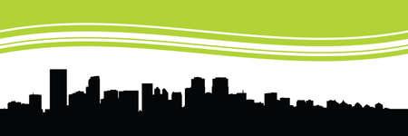 calgary: Skyline silhouette of the city of Calgary, Alberta, Canada. Stock Photo