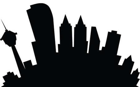 Cartoon skyline silhouette of the city of Calgary, Alberta, Canada. Фото со стока