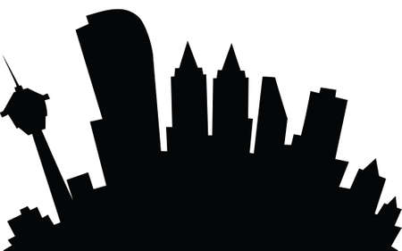 calgary: Cartoon skyline silhouette of the city of Calgary, Alberta, Canada. Stock Photo