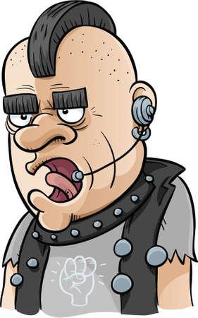 A cartoon punk rocker taking calls in a call centre.