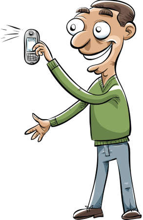 A cartoon man snaps a photo with his mobile phone.