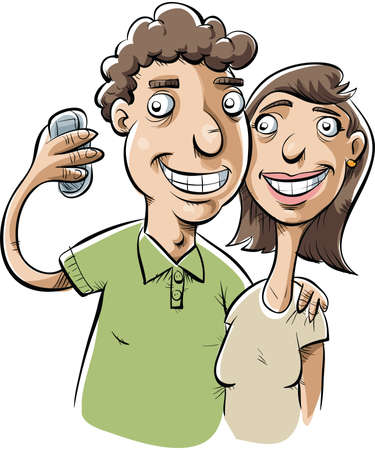 woman cellphone: A friendly cartoon couple takes a snapshot of themselves. Stock Photo