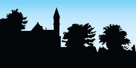 Silhouette of a campus hill in Ithaca, New York, USA.