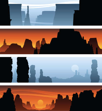 canyon: Cartoon banners of canyon backdrop scenics.