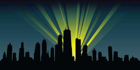 Spotlights illuminate a cartoon city skyline silhouette at night. Imagens - 28814780