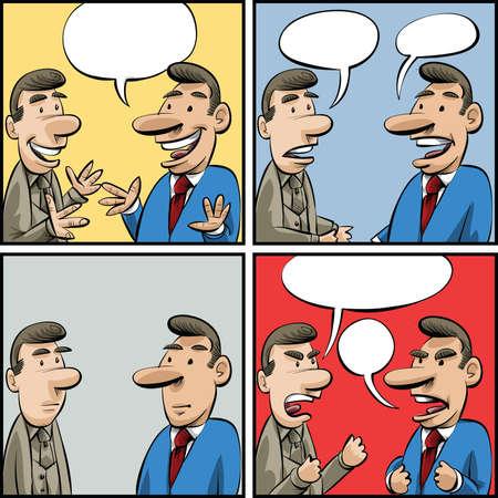 amigas conversando: Conjunto de paneles de dibujos animados de dos hombres de negocios que tienen una conversación.