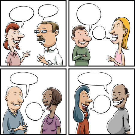 Set of cartoon panels of a variety of people having conversations.