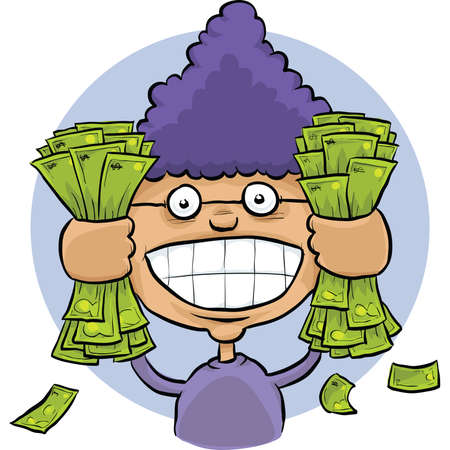 woman holding money: A cartoon woman grabbing big handfuls of cash money.