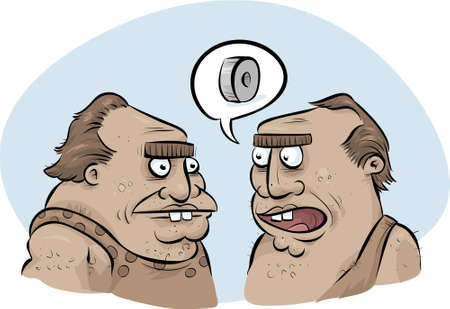 inventing: A couple of cartoon cavemen discuss inventing the wheel.