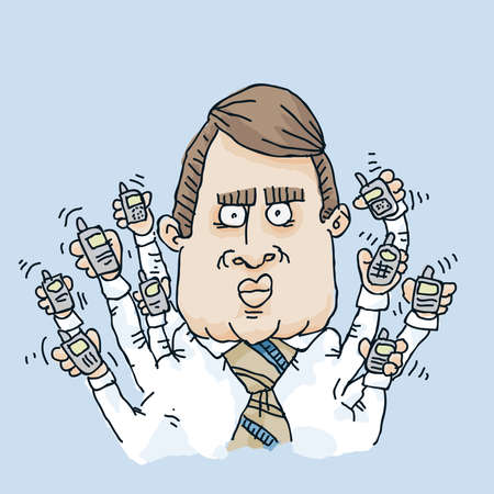 multitask: A cartoon man with many arms and mobile phones tries to multitask.