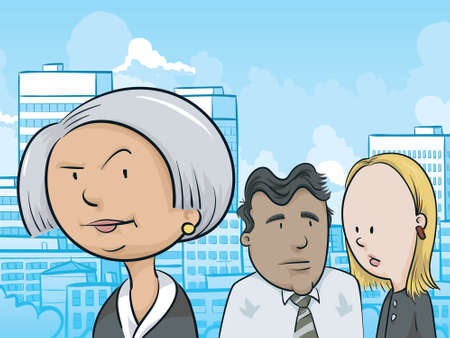 suspicious: A cartoon portrait of a businesspeople in an urban setting.