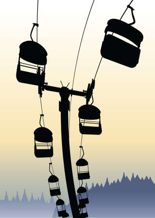 chairlift: Silhouette of a chairlift ride against the sky.