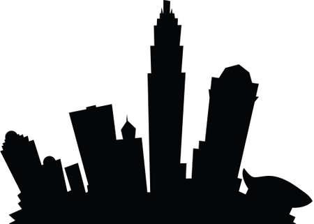 Cartoon skyline silhouette of the city of Charlotte, North Carolina, USA.
