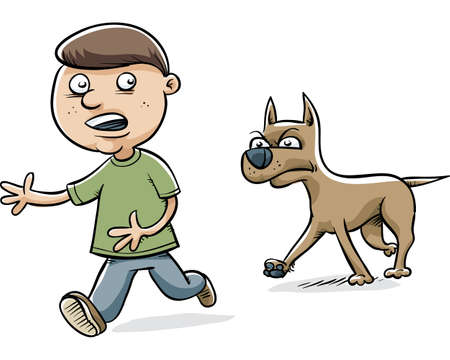A serious cartoon dog stalks a young boy.