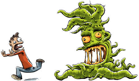 drool: A slimy, green cartoon monster with tentacles chases a man. Stock Photo