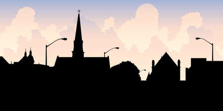 Skyline silhouette of the city of Chatham, Ontario, Canada.
