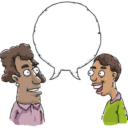 amigas conversando: Dos mujeres de la historieta hablan y comparten un bocadillo en blanco.