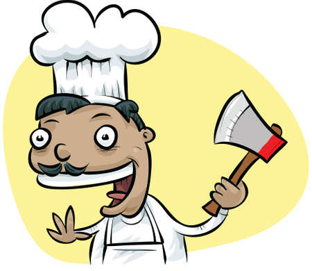 A cartoon chef happily holding an ax.