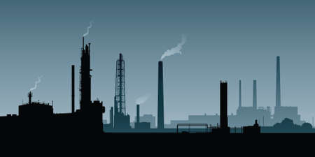 Skyline silhouette of a zone of heavy industry.