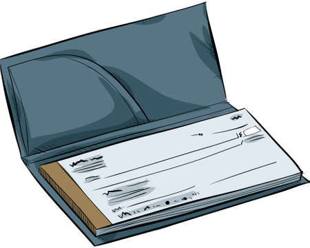 An open cartoon chequebook showing a cheque.