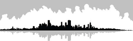 chicago: Skyline silhouette of the city of Chicago, Illinois, USA.