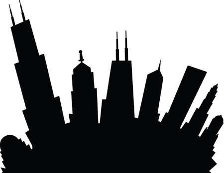 漫画のシカゴ、イリノイ州、アメリカ合衆国の都市のスカイライン シルエット。