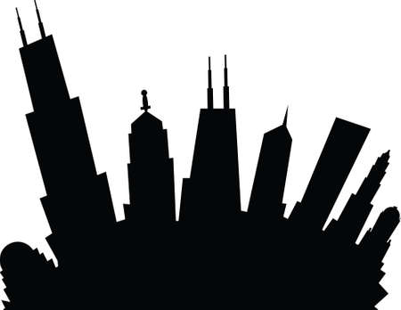 Cartoon skyline silhouette of the city of Chicago, Illinois, USA.